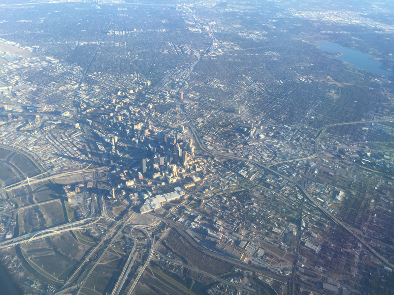 Birds-eye view of downtown Dallas