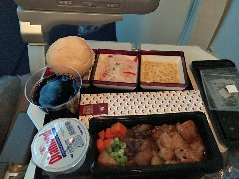 Economy class food at Qatar Airways